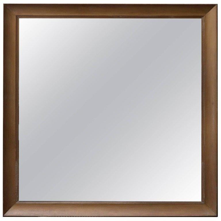 American Monumental Square Gold Finish Wall Mirror by James Mont For Sale