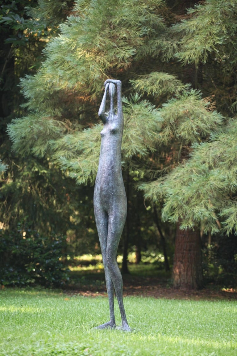 French Monumental Standing Figure I, Arms Raised, Large Outdoor Sculpture For Sale