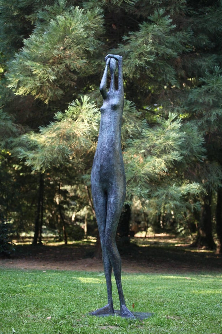 Contemporary Monumental Standing Figure I, Arms Raised, Large Outdoor Sculpture For Sale