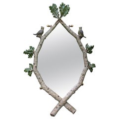 Monumental Statement Piece Magical Faux Bois Mirror with Birds & Leaves