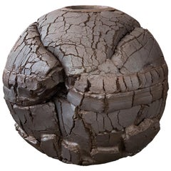 Monumental Stoneware Sphere Sculpture or Vessel by Michael Becker