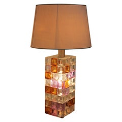 Monumental Table Lamp Cubic Murano Glass by Poliarte Design Albano Poli, 1960