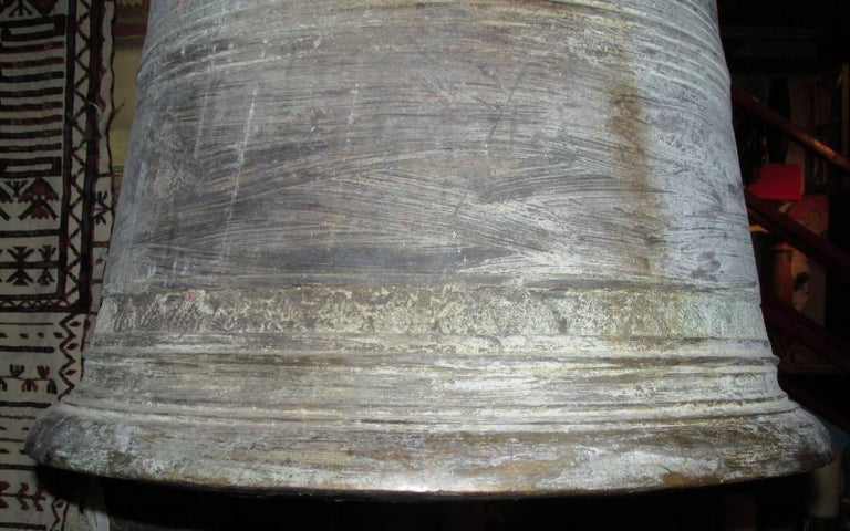 Monumental Thai Bronze and Iron Temple Bell For Sale 2