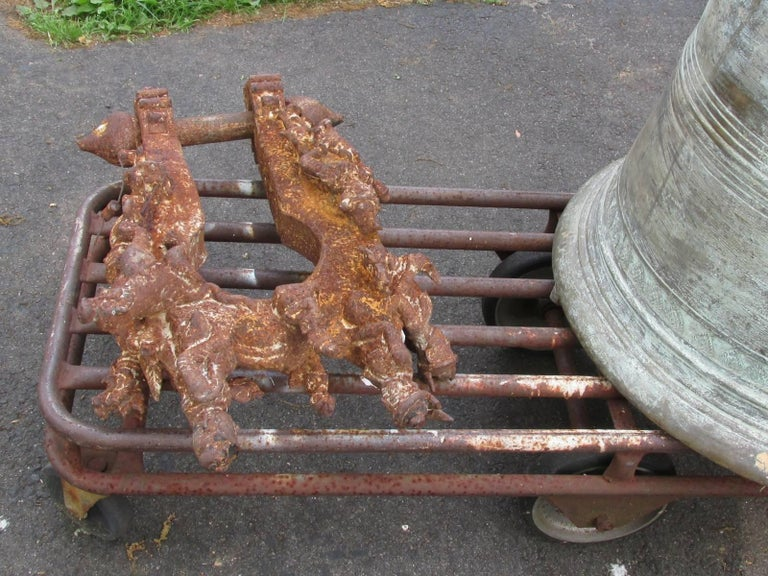 Monumental Thai Bronze and Iron Temple Bell For Sale 5