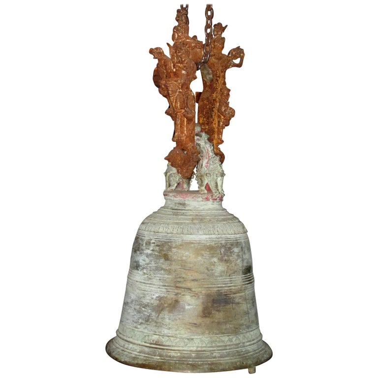 Monumental Thai Bronze and Iron Temple Bell For Sale