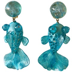 Monumental Turquoise Koi Fish Statement Earrings