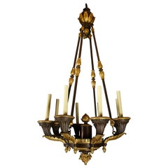 Monumental Unique Antique French Empire Gilt and Patinated Bronze Chandelier