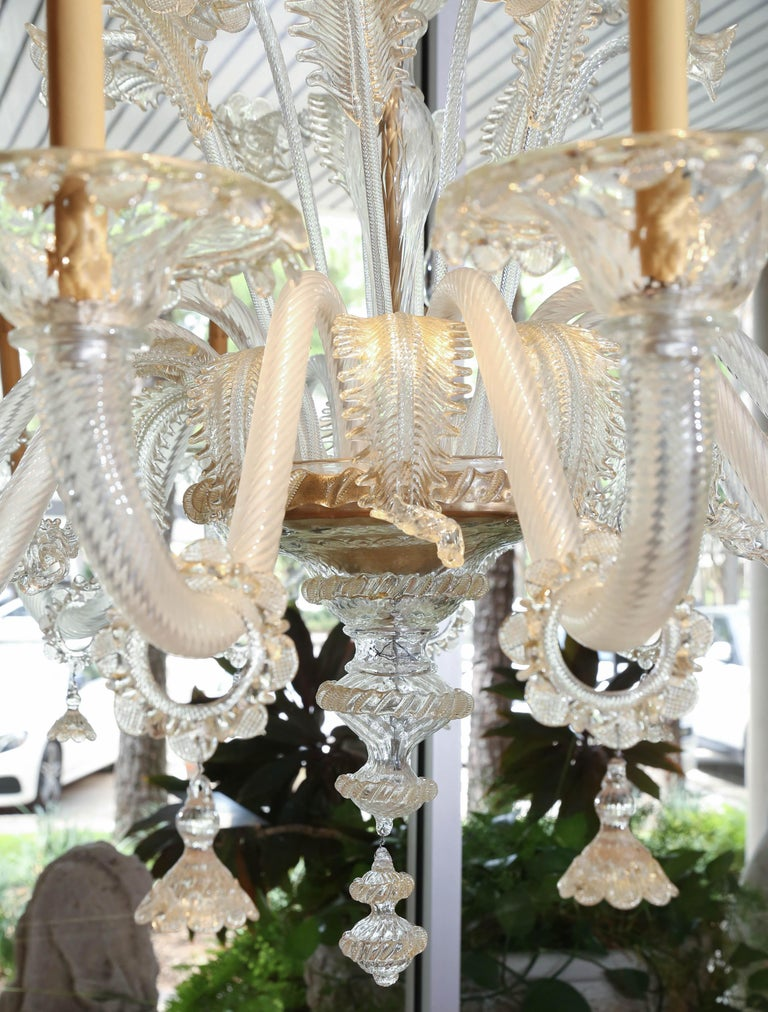 Italian Monumental Venetian Glass Chandelier with 18 Lights on Two Tiers in Pale Gold For Sale