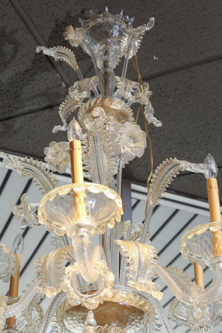 20th Century Monumental Venetian Glass Chandelier with 18 Lights on Two Tiers in Pale Gold For Sale