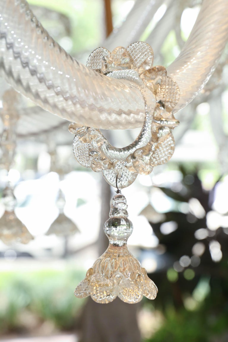 Blown Glass Monumental Venetian Glass Chandelier with 18 Lights on Two Tiers in Pale Gold For Sale