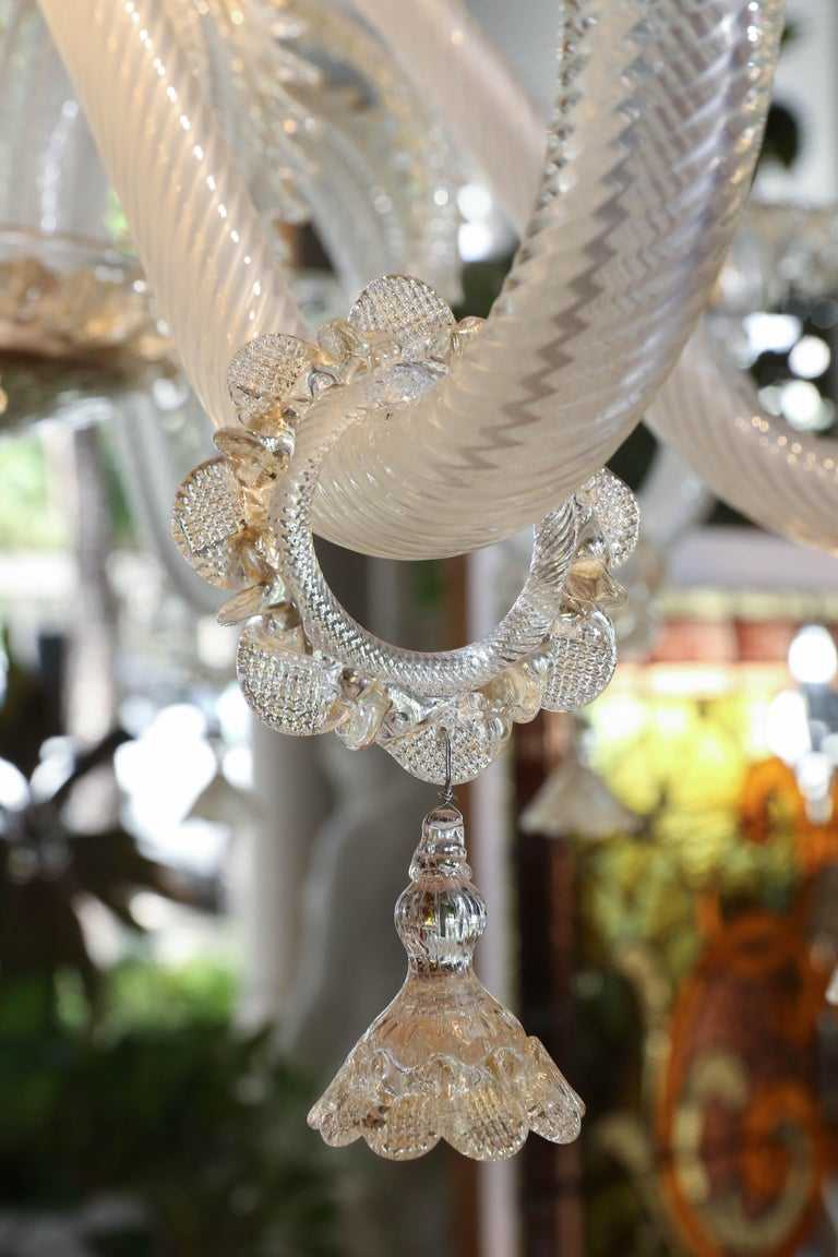 Monumental Venetian Glass Chandelier with 18 Lights on Two Tiers in Pale Gold For Sale 1