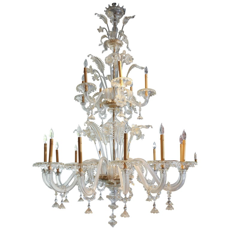 Monumental Venetian Glass Chandelier with 18 Lights on Two Tiers in Pale Gold For Sale