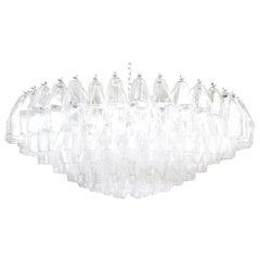 Monumental Venini Polyhedral Murano Glass Chandelier