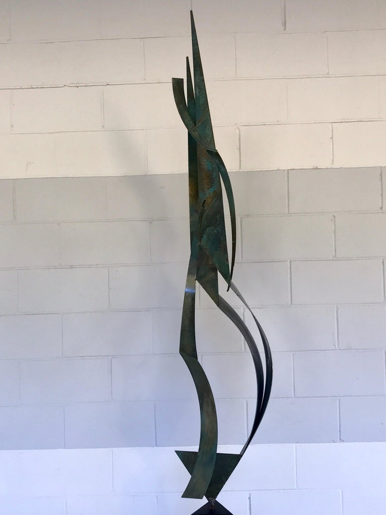 Monumental Verdigris Bronze Abstract Sculpture by Curtis Jere For Sale 3