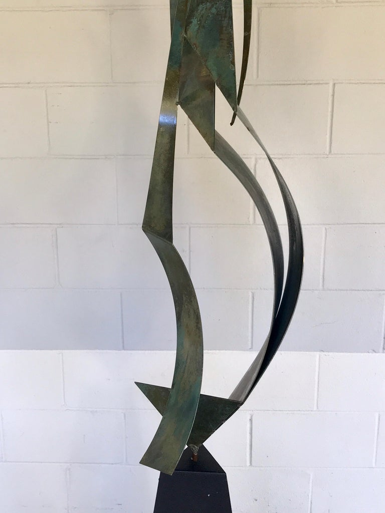 Monumental Verdigris Bronze Abstract Sculpture by Curtis Jere For Sale 4