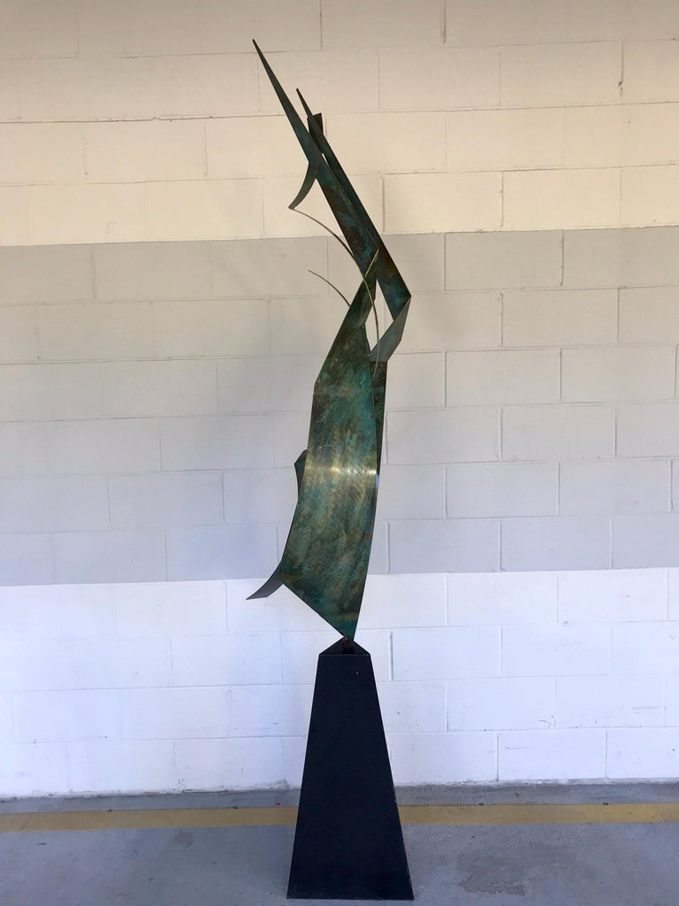 Monumental Verdigris Bronze Abstract Sculpture by Curtis Jere For Sale 6