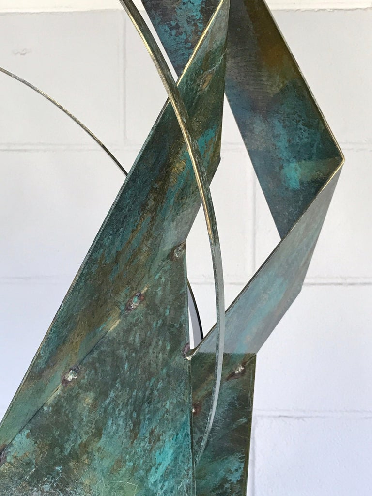 Monumental Verdigris Bronze Abstract Sculpture by Curtis Jere For Sale 7