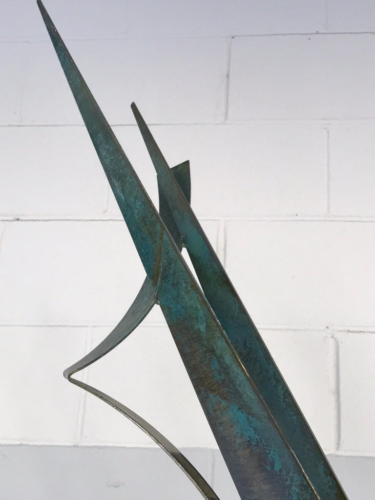 Monumental Verdigris Bronze Abstract Sculpture by Curtis Jere For Sale 8