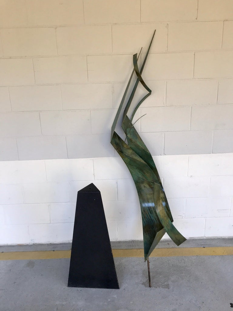 Monumental Verdigris Bronze Abstract Sculpture by Curtis Jere For Sale 10