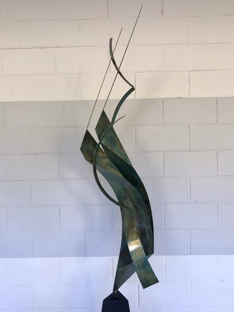 Monumental Verdigris bronze abstract sculpture by Curtis Jere, in two parts the sculpture alone measures 68