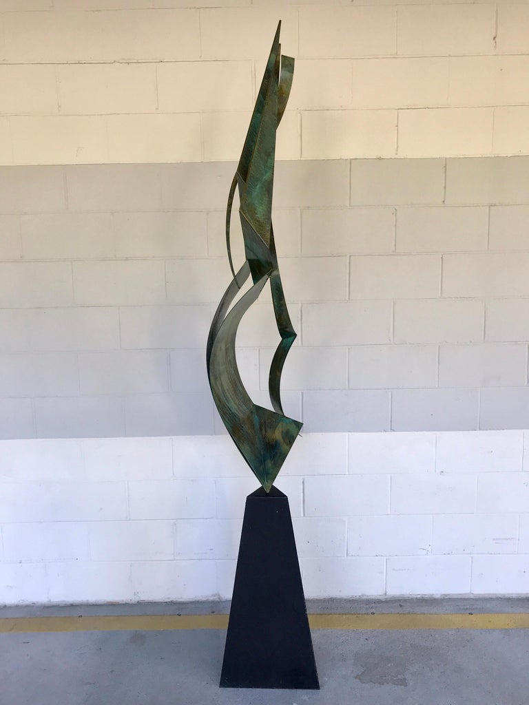 Modern Monumental Verdigris Bronze Abstract Sculpture by Curtis Jere For Sale
