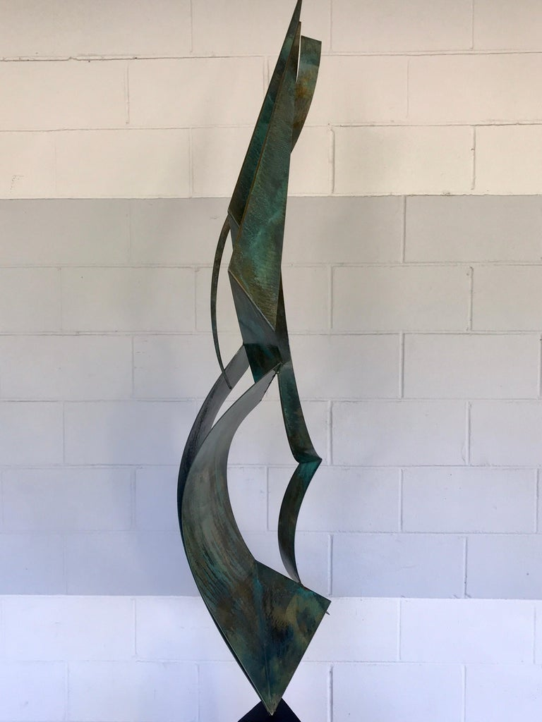 American Monumental Verdigris Bronze Abstract Sculpture by Curtis Jere For Sale