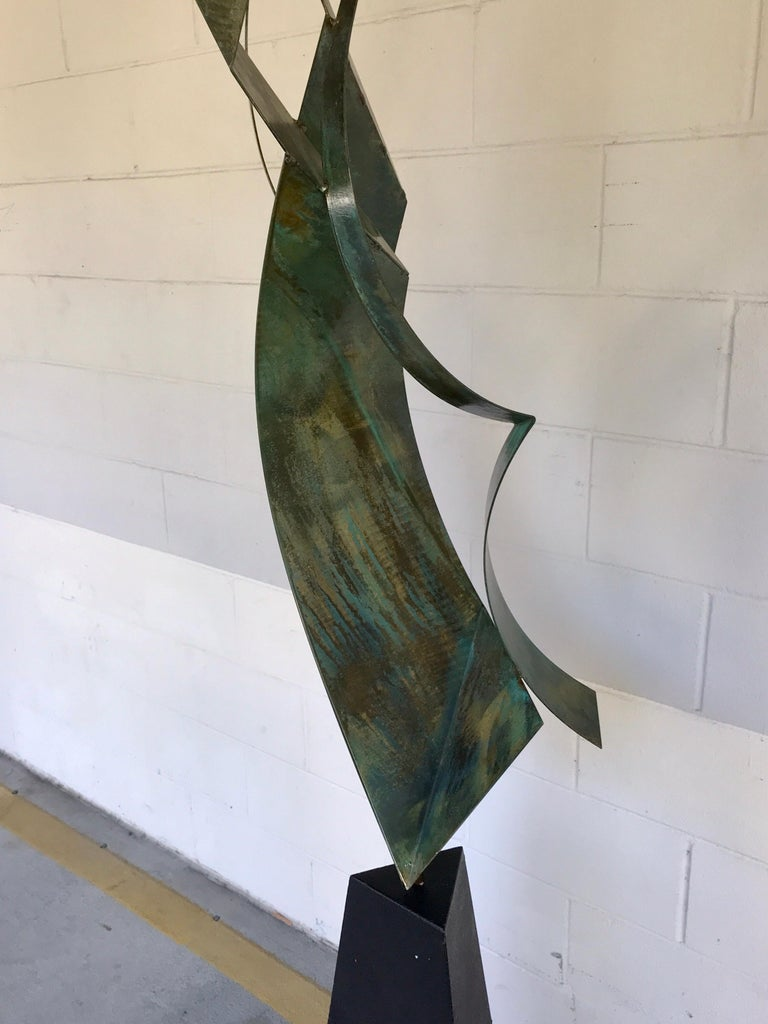 Blackened Monumental Verdigris Bronze Abstract Sculpture by Curtis Jere For Sale