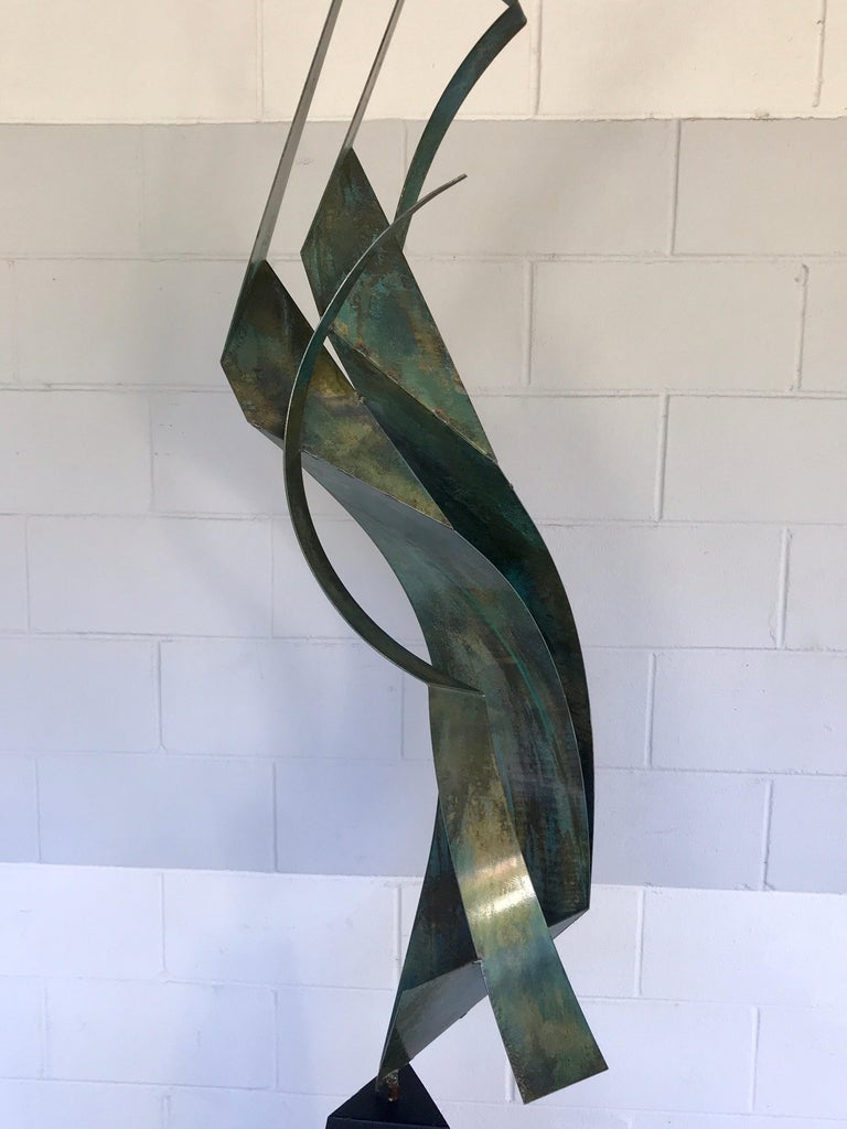20th Century Monumental Verdigris Bronze Abstract Sculpture by Curtis Jere For Sale