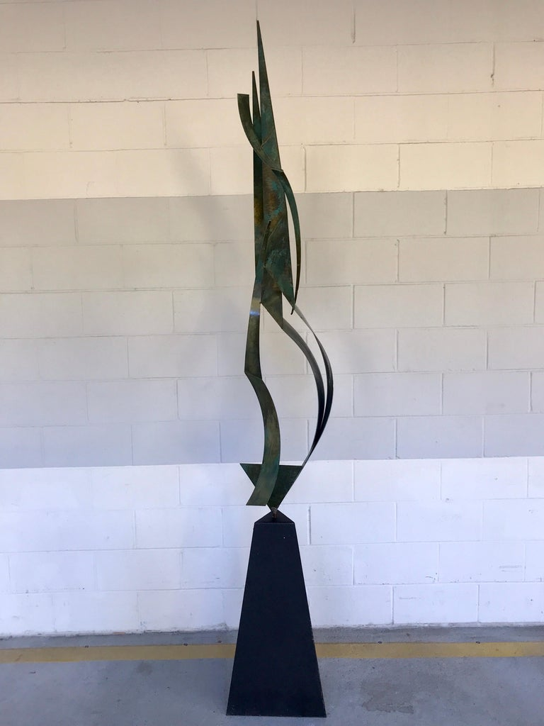 Monumental Verdigris Bronze Abstract Sculpture by Curtis Jere For Sale 2