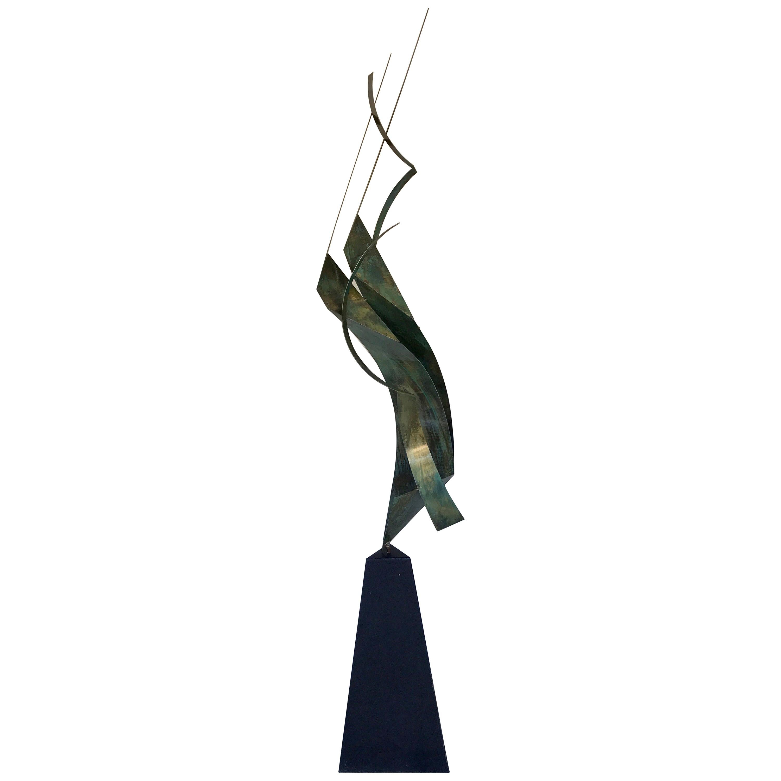 Monumental Verdigris Bronze Abstract Sculpture by Curtis Jere