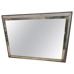 Monumental Very Large Vintage Etched Rectangular Wall Mirror