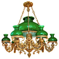 Monumental Victorian Green Glass Shades Bronze Hanging Oil Lamp Chandelier