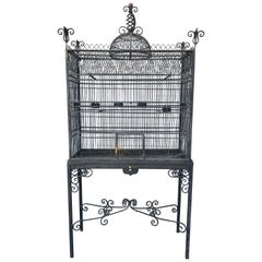 Monumental Victorian Style Antique Brass, Painted Bird Iron Bird Cage