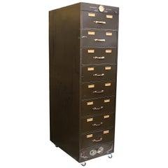 Monumental Vintage 1930s Steel & Brass Industrial Metal 9-Drawer File Cabinet