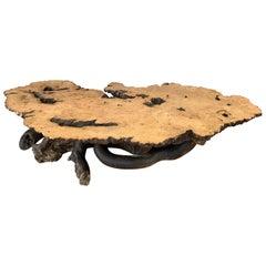 Monumental Birdseye Maple Burl Slab Live Edge Coffee Table, 1960s