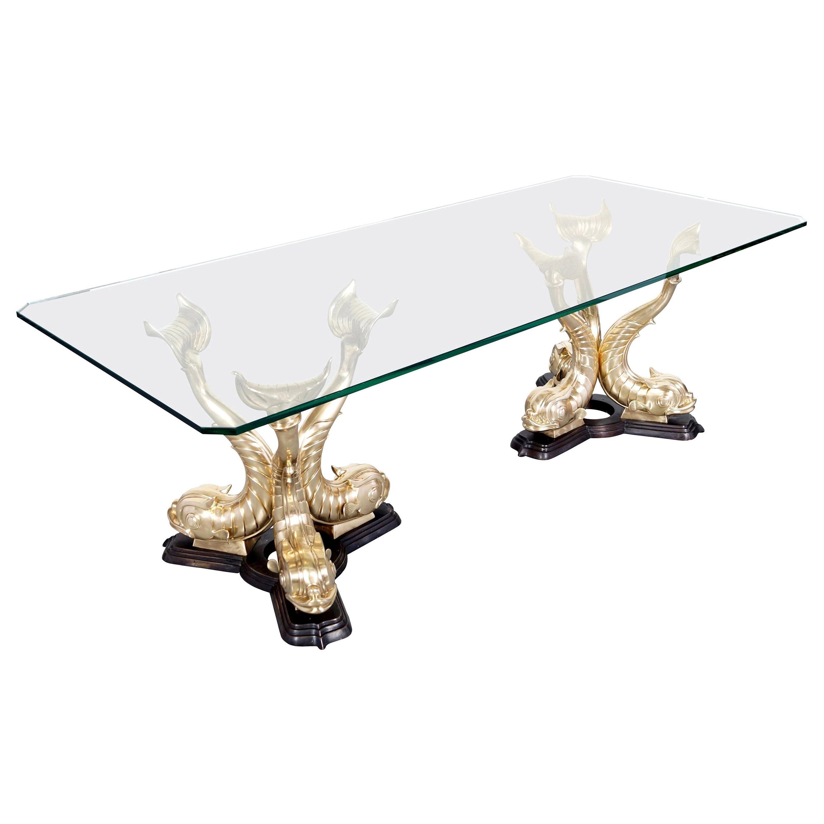 Monumental Vintage Italian Bronze Koi Fish Dining Table