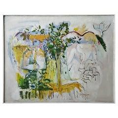 Monumental Vintage Modern Feminist Painting on Canvas