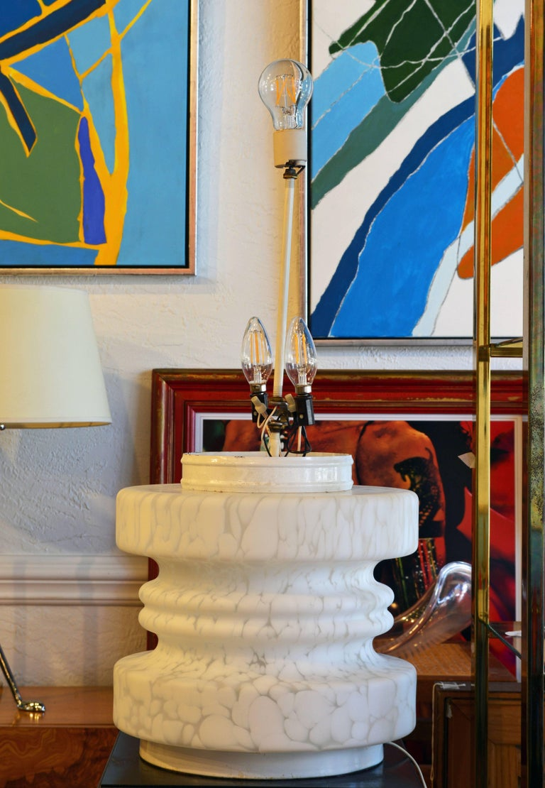 Monumental Vintage Murano Stacked Three-Tier TOTEM Lamp with Globe by Vistosi In Good Condition For Sale In Ft. Lauderdale, FL