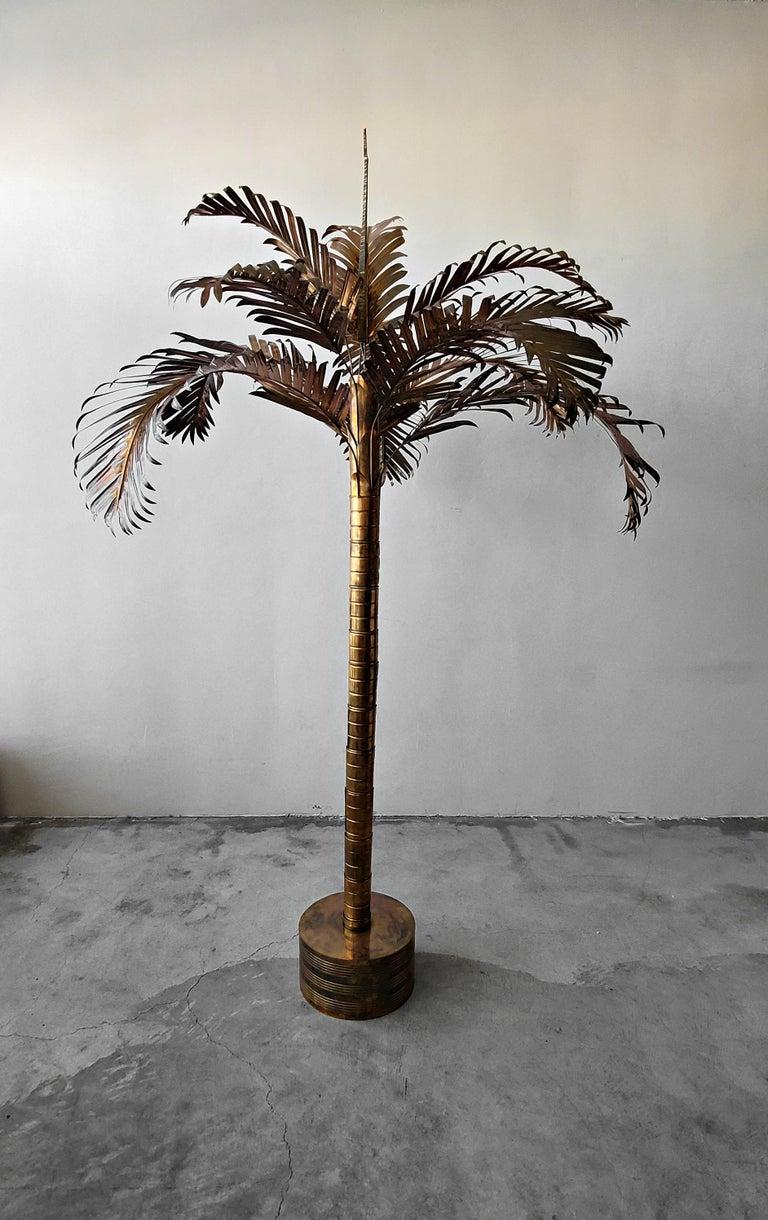Hollywood Regency Monumental Vintage Regency Brass Palm Tree For Sale