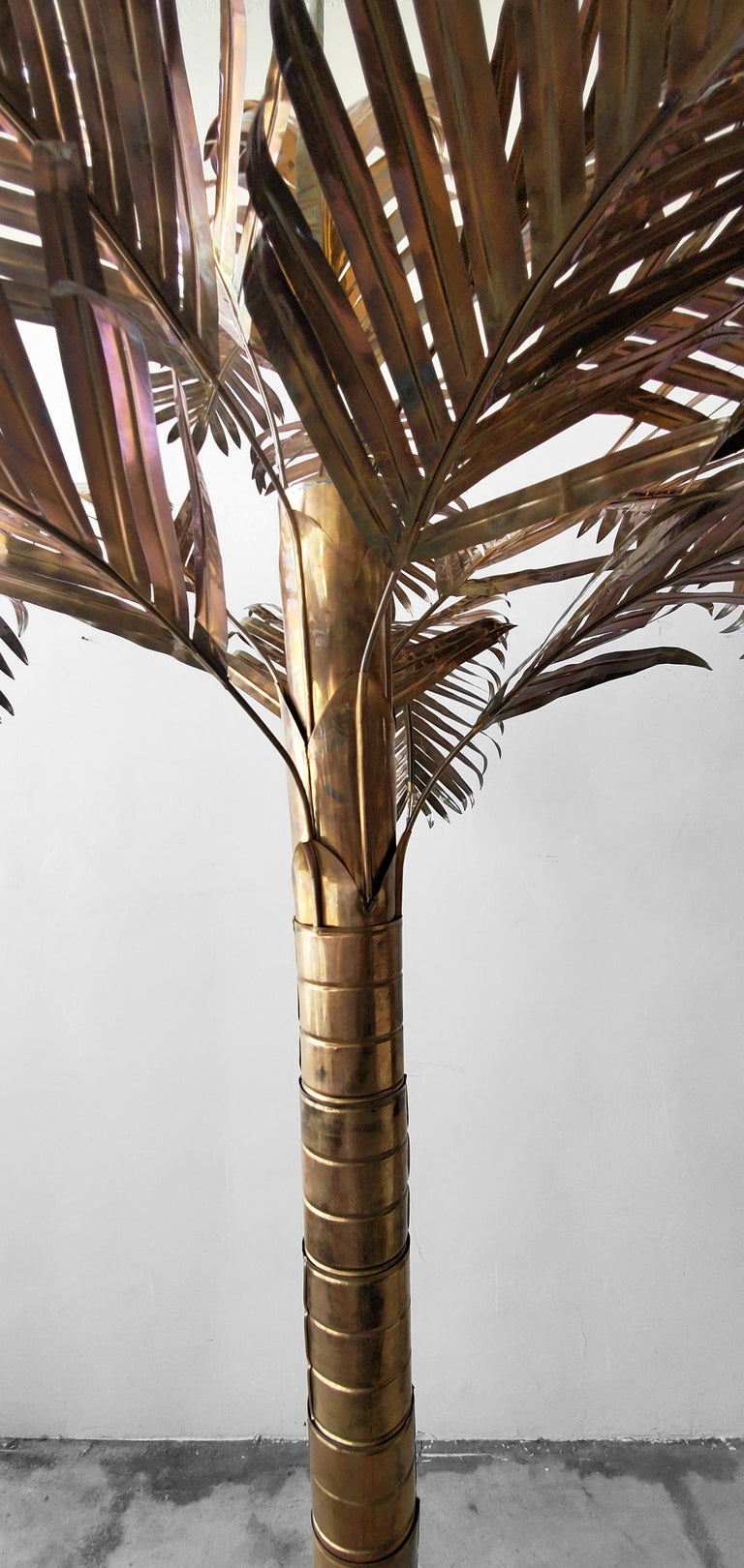 20th Century Monumental Vintage Regency Brass Palm Tree For Sale