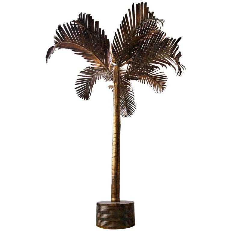 Monumental Vintage Regency Brass Palm Tree For Sale