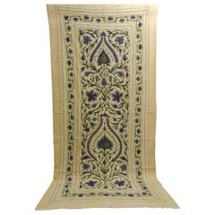 Monumental Vintage Tree of Life Textile in Green and Purple