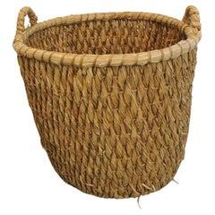 Monumental Vintage Water Hyacinth Logs Basket