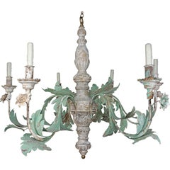 Monumental Vintage Wood Painted and Metal 6-light Chandelier