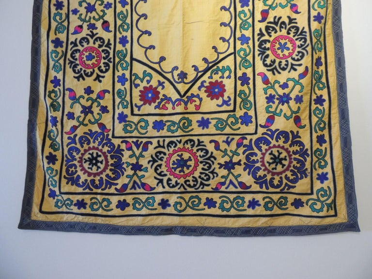 Uzbek Monumental Vintage Yellow and Green Embroidery Suzani Panel For Sale