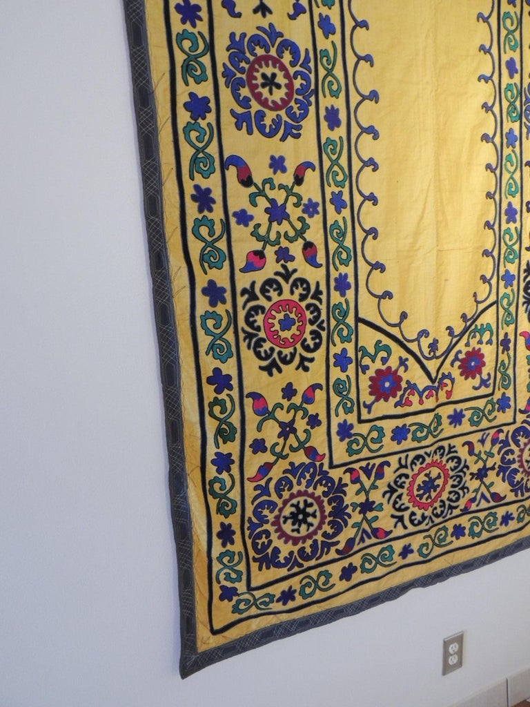 Hand-Crafted Monumental Vintage Yellow and Green Embroidery Suzani Panel For Sale