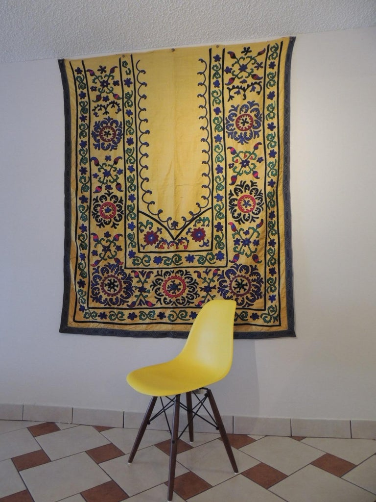 Monumental Vintage Yellow and Green Embroidery Suzani Panel In Good Condition For Sale In Wilton Manors, FL