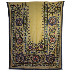 Monumental Vintage Yellow and Green Embroidery Suzani Panel
