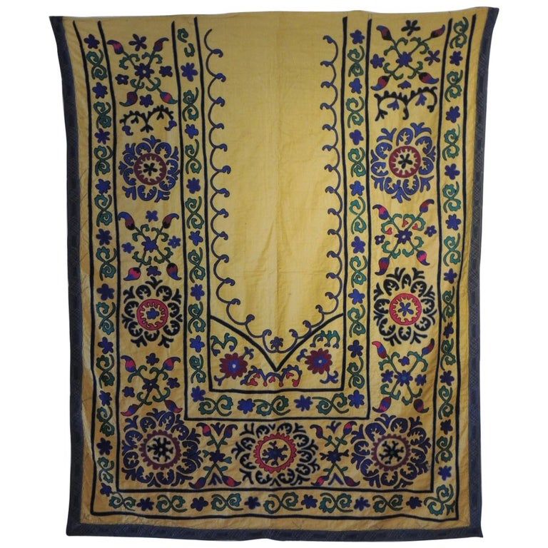 Monumental Vintage Yellow and Green Embroidery Suzani Panel For Sale