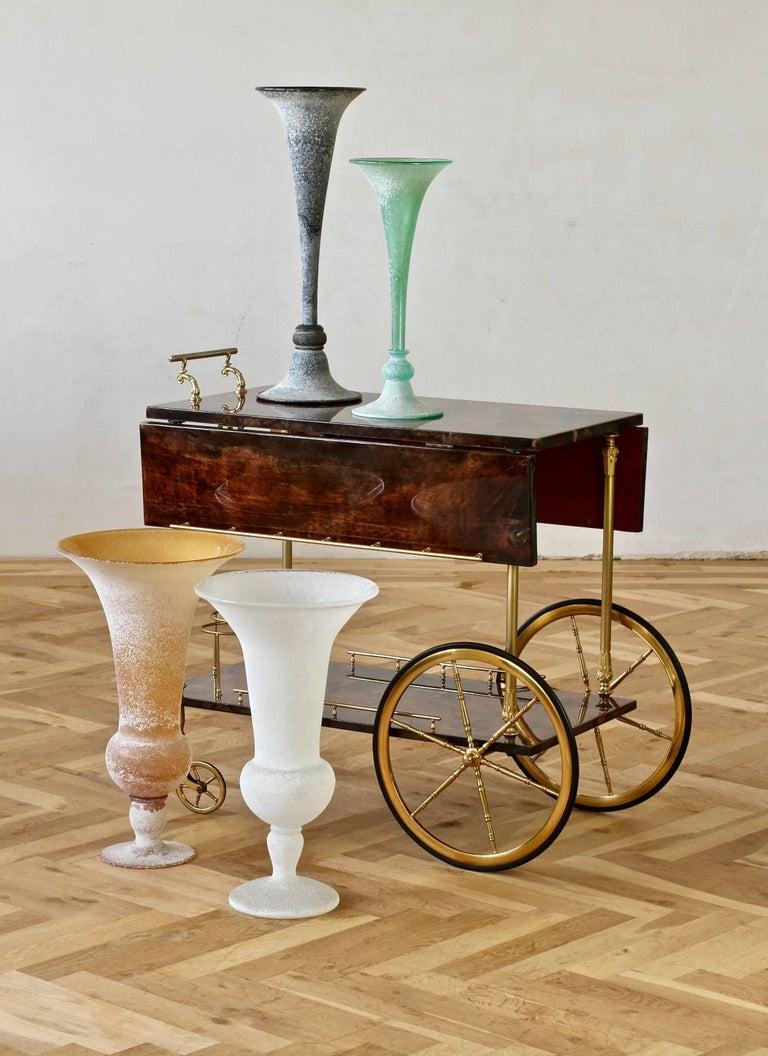 Monumental Vittorio Rigattieri for Seguso Black 'A Scavo' Murano Glass Vase For Sale 7